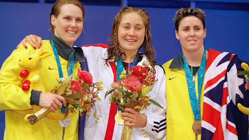 Susie O'Neill, Misty Hyman and Petria Thomas, pictured here at the 2000 Olympics.