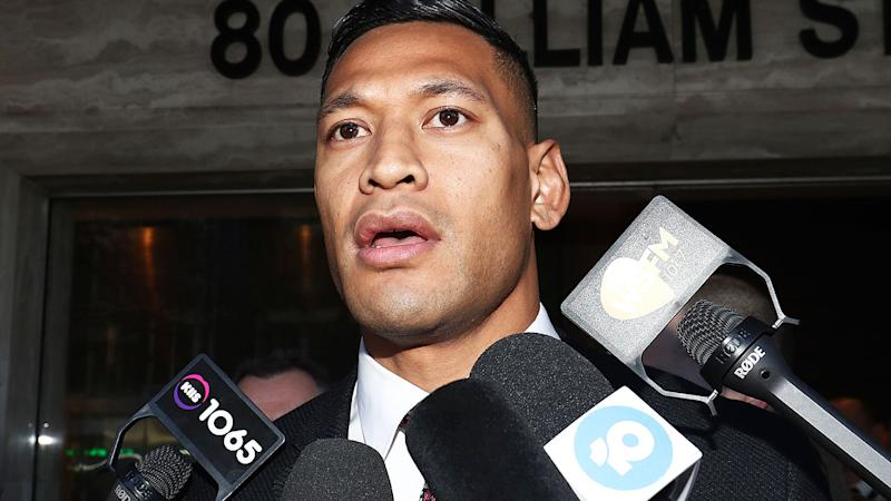 Israel Folau, pictured here after his Fair Work hearing with Rugby Australia.