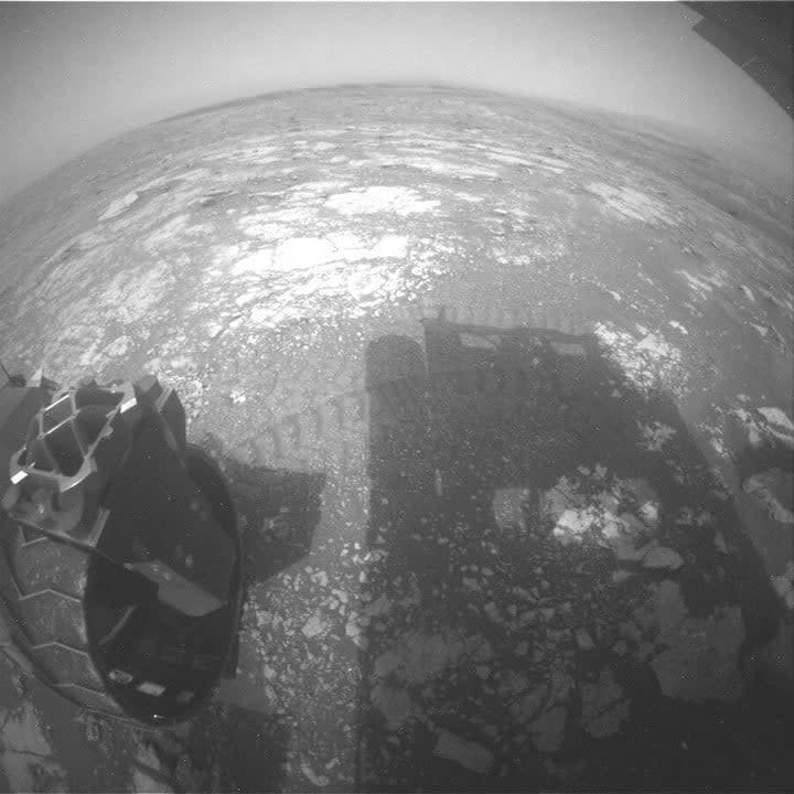 This image was taken by Rear Hazard Avoidance Camera (Rear Hazcam) onboard NASA's Mars rover Curiosity on Sol 2809.
