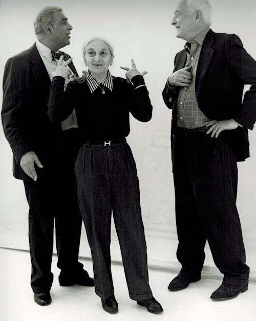 This undated publicity photo provided by Merchant Ivory Productions shows Oscar-winning screenwriter and award-winning novelist Ruth Prawer Jhabvala, center, with film director and producer, Ismail Merchant, left, and director, James Ivory in a studio. Jhabvala (JOB-vah-lah), 85, has died. Firoza Jhabvala said Wednesday, April 3, 2013, that her mother died in New York after a long illness. (AP Photo/Merchant Ivory Productions)