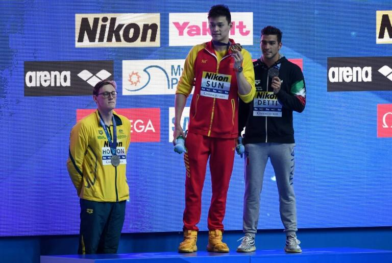 Australian silver medallist Mack Horton refuses to share the podium with gold medallist Sun Yang, a man he referred to as a drugs cheat, after the men's 400m freestyle at the 2019 World Championships
