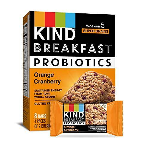 """<p><strong>KIND</strong></p><p>amazon.com</p><p><strong>$23.92</strong></p><p><a href=""""https://www.amazon.com/dp/B07RRYC9DK?tag=syn-yahoo-20&ascsubtag=%5Bartid%7C10055.g.33456644%5Bsrc%7Cyahoo-us"""" target=""""_blank"""">Shop Now</a></p><p>Like an orange cranberry scone in granola bar form, these breakfast bars from KIND also have <strong>probiotic cultures to support a healthy gut</strong>. We like that they have 28 grams of whole grains and contain things like oats, millet, buckwheat, and amaranth. </p><p><strong><em>Per 1 pack serving: 210 cal, 7g fat, 110mg sodium, 33g carb, 4g fiber, 9g added sugar, 3g protein</em></strong></p>"""