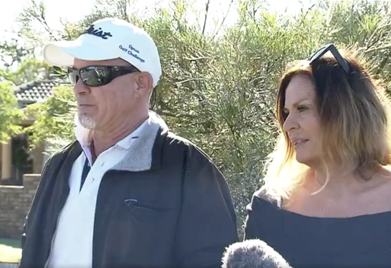 The parents of Mr Hansen speaking to Channel 7 on the Gold Coast.