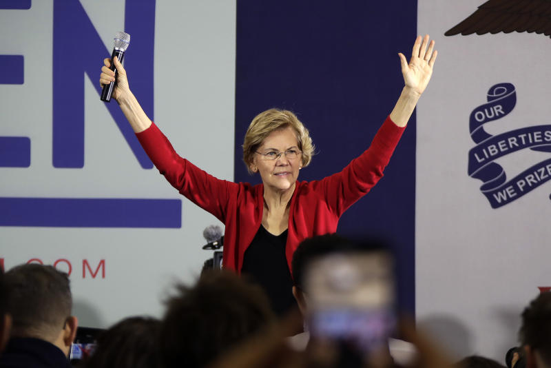 Democratic presidential candidate Sen. Elizabeth Warren, D-Mass., gestures on stage at a Get Out the Caucus Rally at Simpson College in Indianola, Iowa, Sunday, Feb. 2, 2020. (AP Photo/Gene J. Puskar)