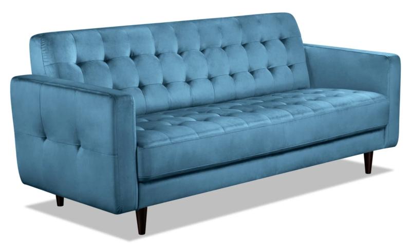 The Brick Devlin Velvet Sofa in Blue (Photo via The Brick)