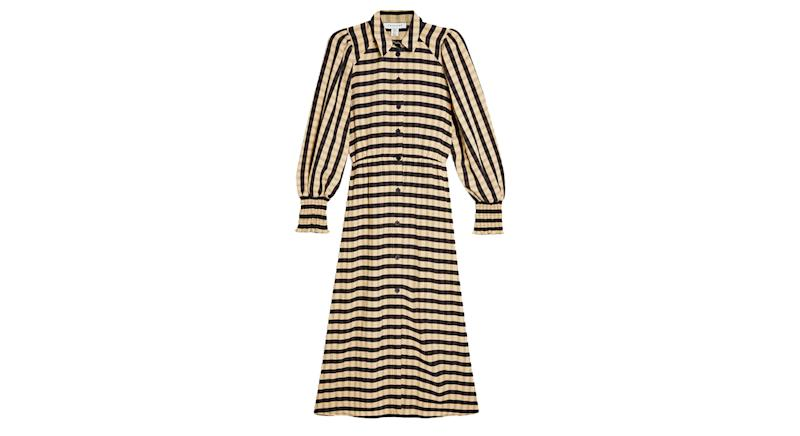 Ecru Check Shirred Midi Shirt Dress