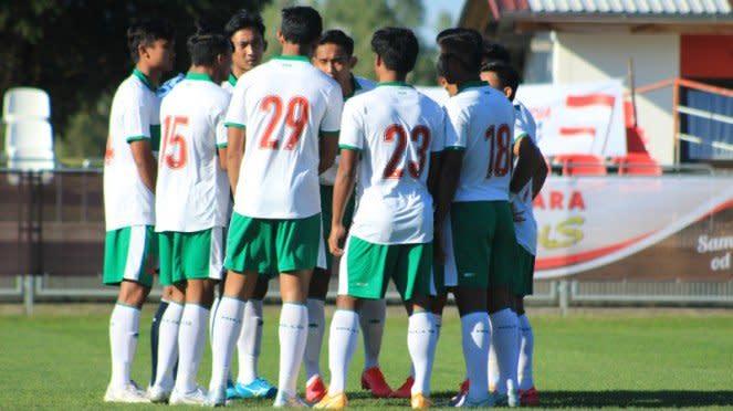 Skuad Timnas Indonesia U-19 di laga kontra Bulgaria