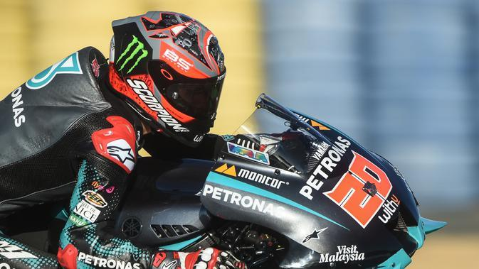 Aksi Fabio Quartararo di MotoGP Prancis (JEAN-FRANCOIS MONIER / AFP)