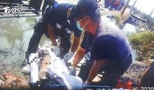 吊車誤觸高壓電 工人遭電擊嚴重燒傷