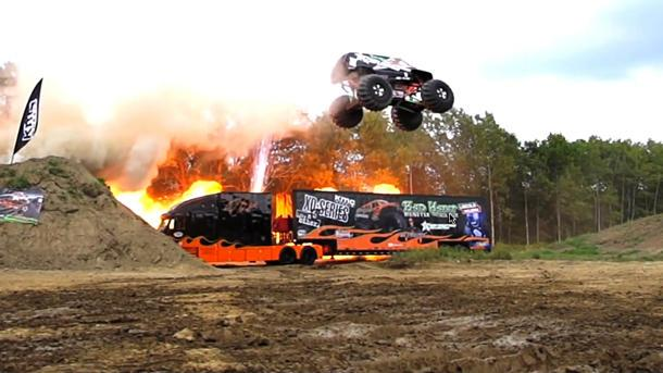 See a monster truck jump 238 scary feet for a new world record