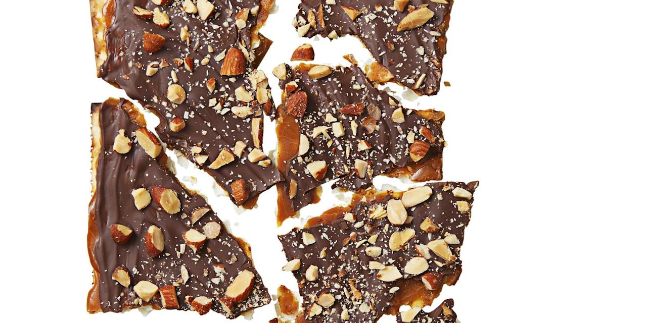 "<p>Matzo has never tasted better than with caramel, dark chocolate, and salted roasted almonds. </p><p><em><a href=""https://www.goodhousekeeping.com/food-recipes/a37546/choco-caramel-matzo-brittle-recipe/"" target=""_blank"">Get the recipe for Choco-Caramel Matzo Brittle »</a></em><em><br></em></p><p><strong>RELATED: </strong><a href=""https://www.goodhousekeeping.com/food-recipes/easy/g3454/matzo-recipes-for-passover/"" target=""_blank"">20 Creative Ways to Eat Matzo During Passover</a><strong></strong><br></p>"