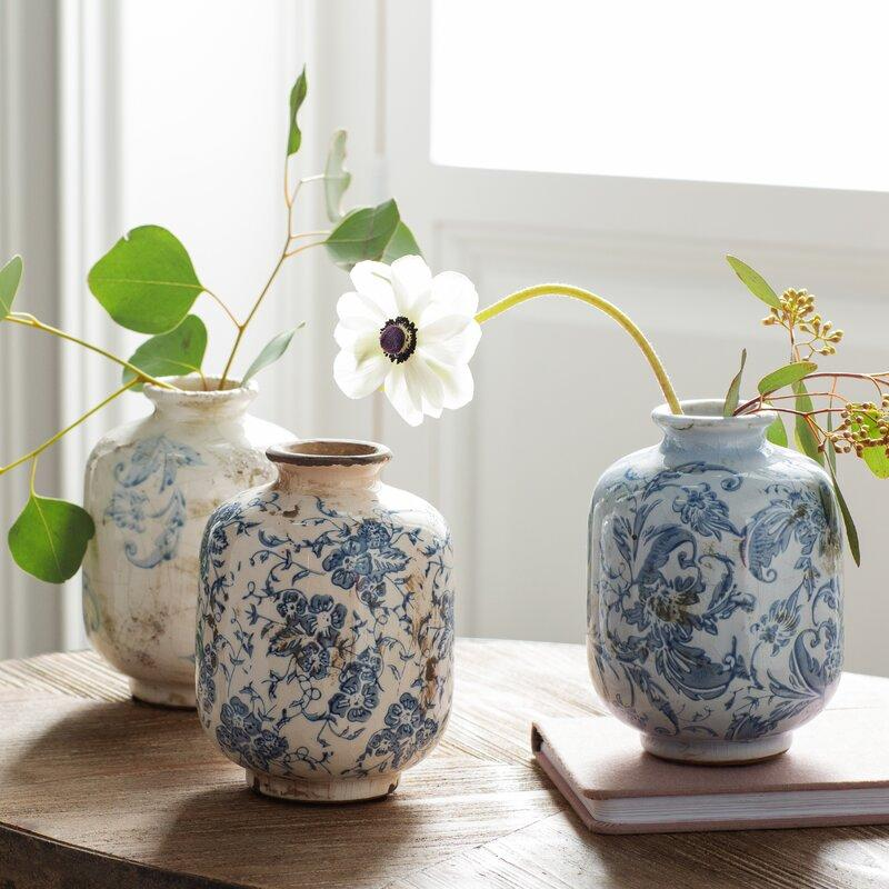 3 Piece Bud Terracotta Blue and White Table Vase Set. Image via Wayfair.