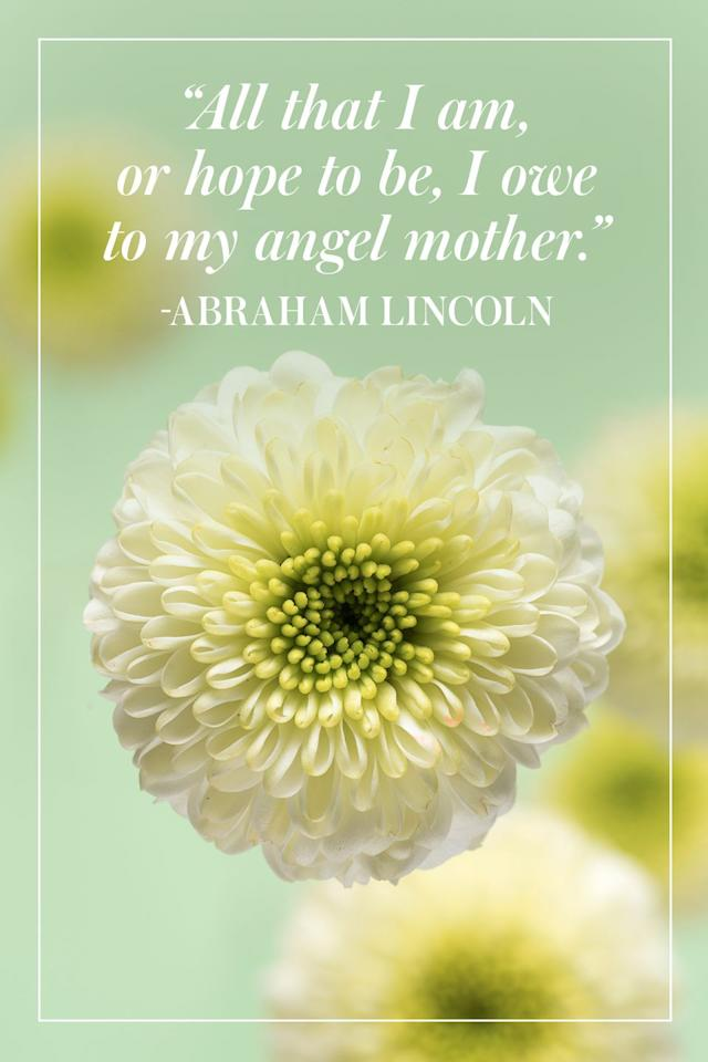 """<p>""""All that I am, or hope to be, I owe to my angel mother.""""</p><p>- Abraham Lincoln</p>"""