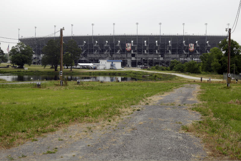 Roads are clear of traffic outside Darlington Raceway before the Real Heroes 400 NASCAR Cup Series auto race Sunday, May 17, 2020, in Darlington, S.C. NASCAR, which has been idle since March 8 because of the coronavirus pandemic, makes its return at the track Sunday. (AP Photo/Brynn Anderson)