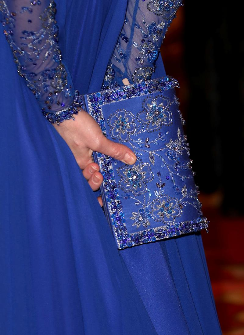 Catherine, Duchess of Cambridge, bag detail, hosts a Gala Dinner in celebration of the 25th anniversary of Place2Be at Buckingham Palace, in London, Britain March 9, 2020. Chris Jackson/Pool via REUTERS