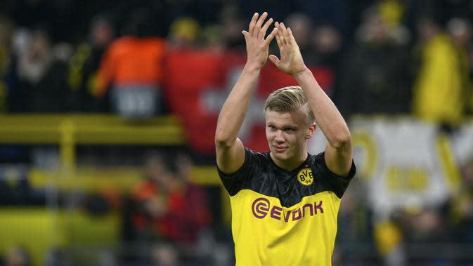 Erling Haaland (72 juta euro) - Haaland merupakan salah satu wonderkid hebat yang dimiliki Borussia Dortmund. Pemain berusia 19 tahun ini telah mencetak 10 gol dari 11 penampilannya di Bundesliga musim ini. (AFP/Ina Fassbender)