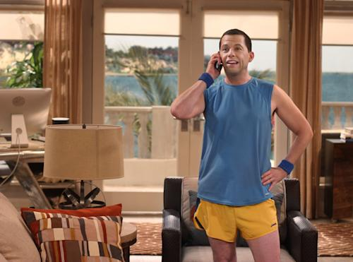 "This undated image released by CBS shows actor Jon Cryer in a scene from ""Two and a Half Men."" On Sunday, Sept. 16, 2012, Cryer injured himself during the cycling part of a triathlon after losing control of his bicycle. He suffered scrapes and bruises but no broken bones. (AP Photo/CBS, Michael Ansell)"