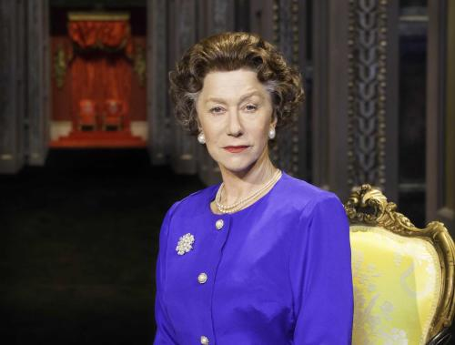 "This undated image released by Boneau/Bryan-Brown shows Helen Mirren as Queen Elizabeth II in a promotional photo for Peter Morgan's play ""The Audience."" National Theatre Live will broadcast to movie theaters a live performance of the West End world premiere on June 13. (AP Photo/Boneau/Bryan-Brown, Johan Persson)"