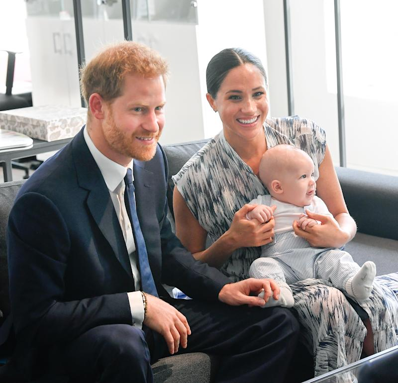 CAPE TOWN, SOUTH AFRICA - SEPTEMBER 25: Prince Harry, Duke of Sussex, Meghan, Duchess of Sussex and their baby son Archie Mountbatten-Windsor meet Archbishop Desmond Tutu and his daughter Thandeka Tutu-Gxashe at the Desmond & Leah Tutu Legacy Foundation during their royal tour of South Africa on September 25, 2019 in Cape Town, South Africa. (Photo by Toby Melville/Pool/Samir Hussein/WireImage)