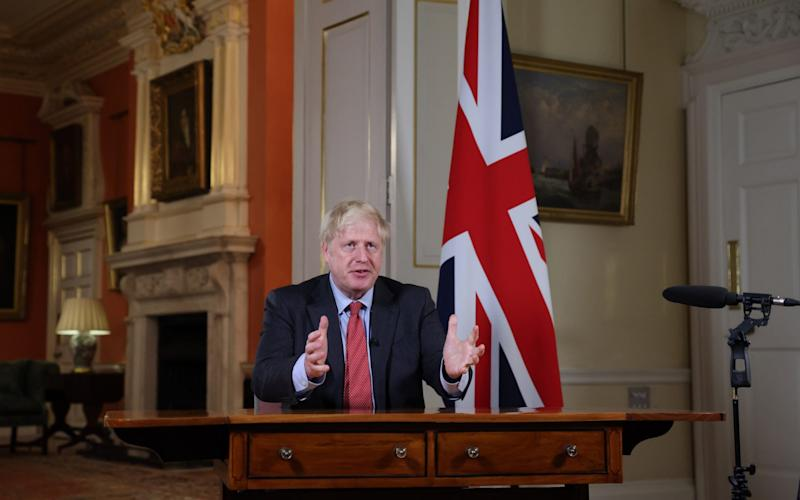 The Prime Minister Boris Johnson in the White Room of No10 Downing Street, addressing the Nation on Covid-19. - Andrew Parsons/No 10 Downing Street