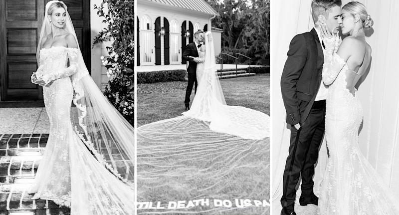 Hailey Bieber shares pictures from her wedding to Justin Bieber. [Photo: Instagram]