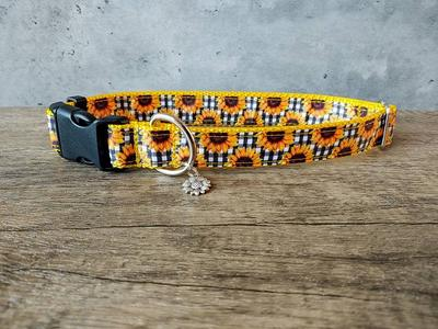 Collars Are Adjustable Premium Designer Fabric Up to 1.5 Widths Strong and Durable Sunflower Dog Collar Martingale Upgrade Available