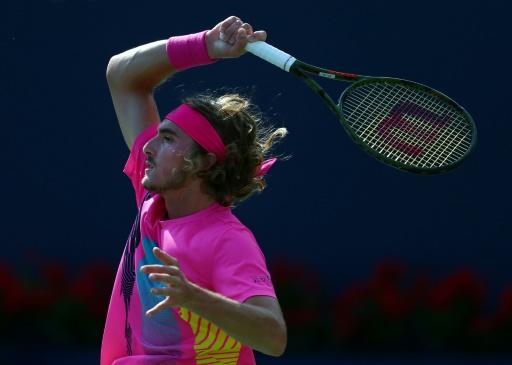 Stefanos Tsitsipas of Greece plays a shot against Rafael Nadal of Spain on August 12, 2018 in Toronto, Canada