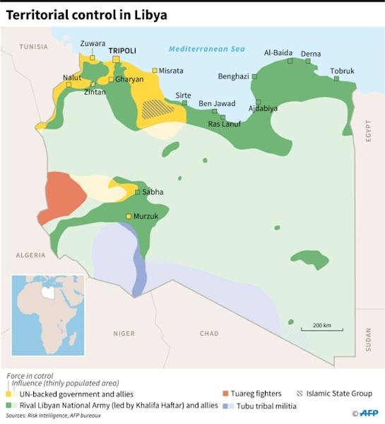 Map of forces involved in the fighting in Libya, as of January 12, 2020 following the start of a ceasefire Sunday