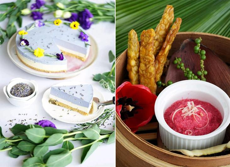 Enjoy this decadent floral baked cheesecake garnished with various edible flowers and lavender (left). Tempeh fingers packed with vitamins and minerals are paired with a vibrant pink ginger flower dip (right)