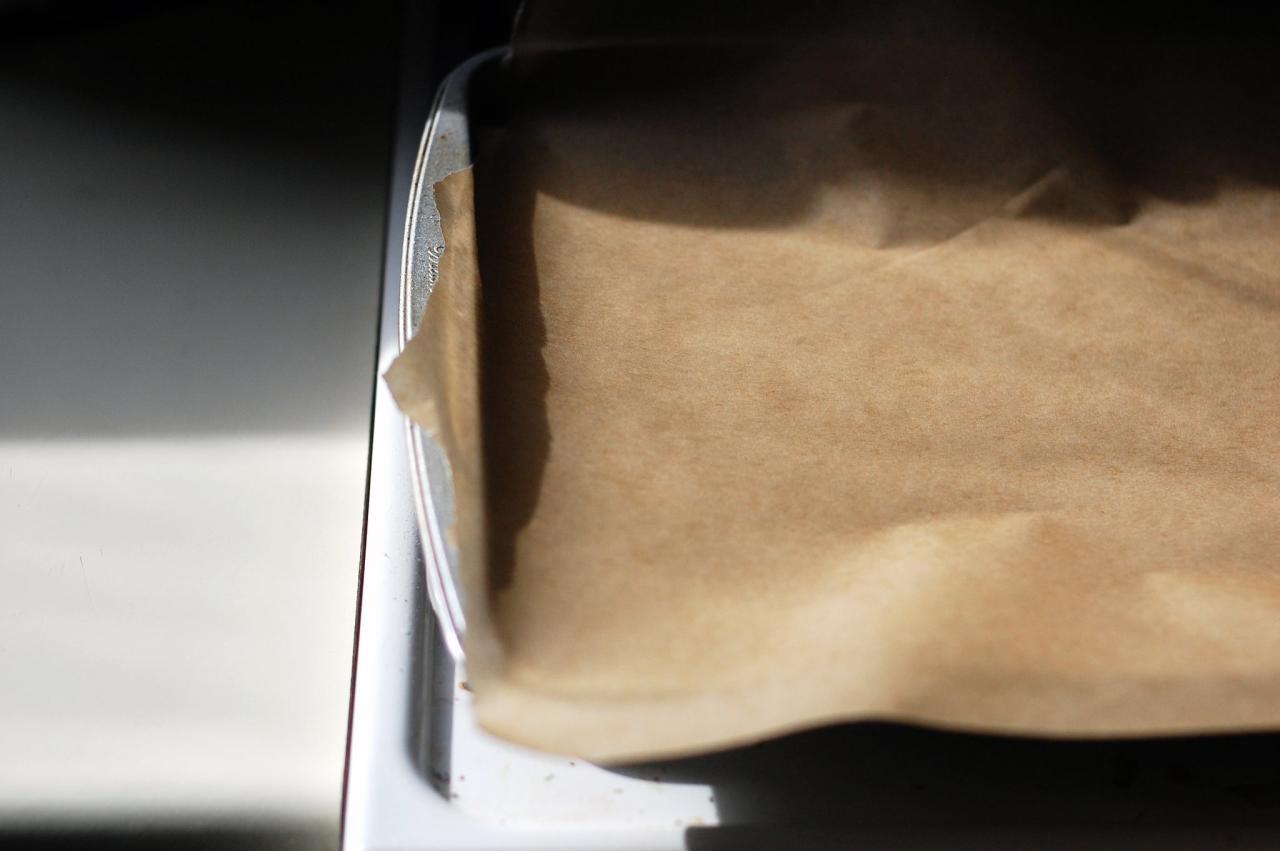 <p>Place a piece of parchment paper over a baking sheet. Set aside.</p>
