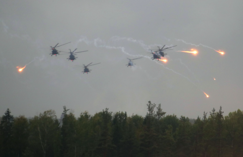 Russian Mi-8 helicopters perform exercises during the Zapad West 2017 war games (Picture: Rex)