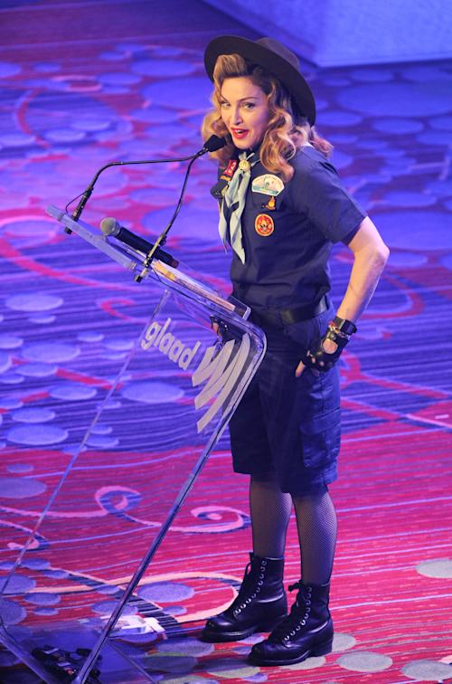 Madonna addresses the audience at the 24th Annual GLAAD Media Awards at the Marriott Marquis on Saturday March 16, 2013 in New York. Madonna presented CNN news anchor Anderson Cooper with the Vito Russo Award. (Photo by Evan Agostini/Invision/AP)
