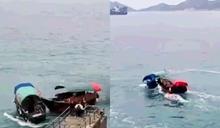 【有片】鴨脷洲兩街渡疑爭客 「碰碰船」式海上激戰險翻艇