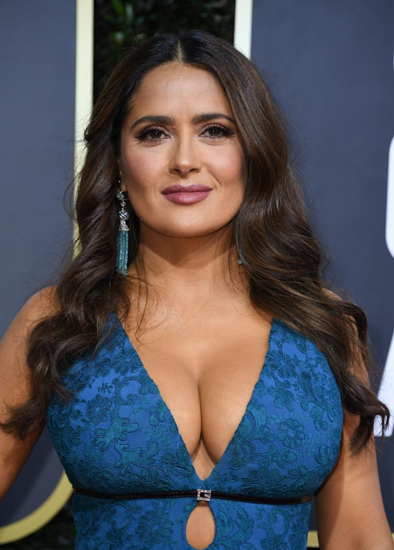 Salma Hayek wearing Charlotte Tilbury make-up at the 77th annual Golden Globe Awards. [Photo: Getty]