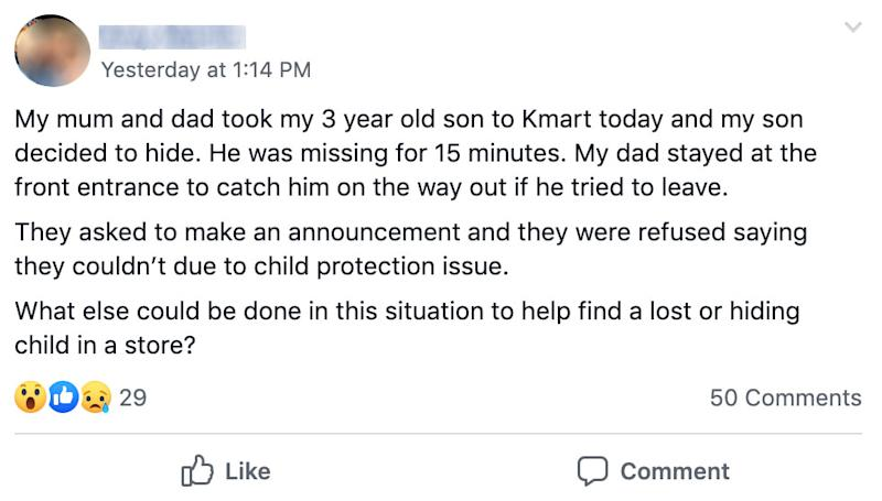 Mum's message about missing child in Kmart on Facebook