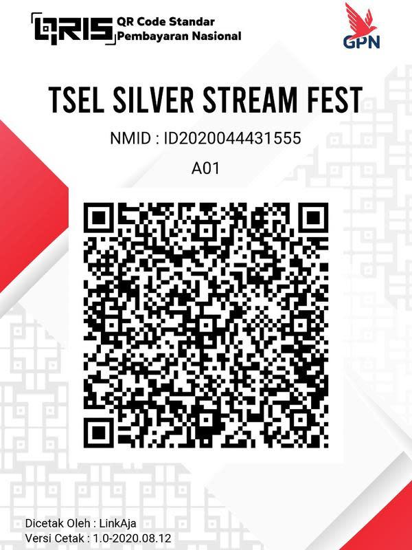 Salurkan donasi lewat QR Code TSEL Silver Stream Fest 2020.