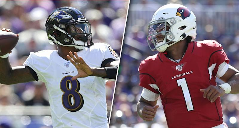 Lamar Jackson Kyler Murray (Photos by Patrick Smith/Getty Images)