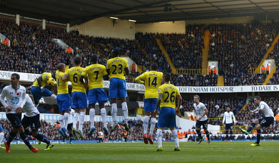 Tottenham Hotspur's Sigurdsson hits a free kick into the Newcastle United wall during their English Premier League soccer match at White Hart Lane in London