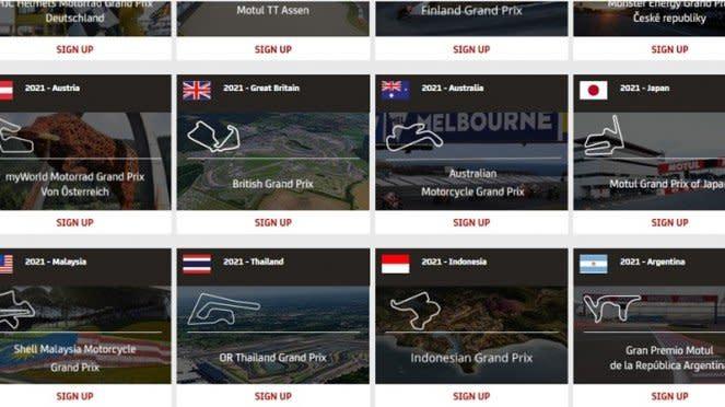 Potongan gambar informasi tiket MotoGP Indonesia 2021