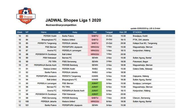 Jadwal lanjutan Liga 1 musim ini (2) (Istimewa)