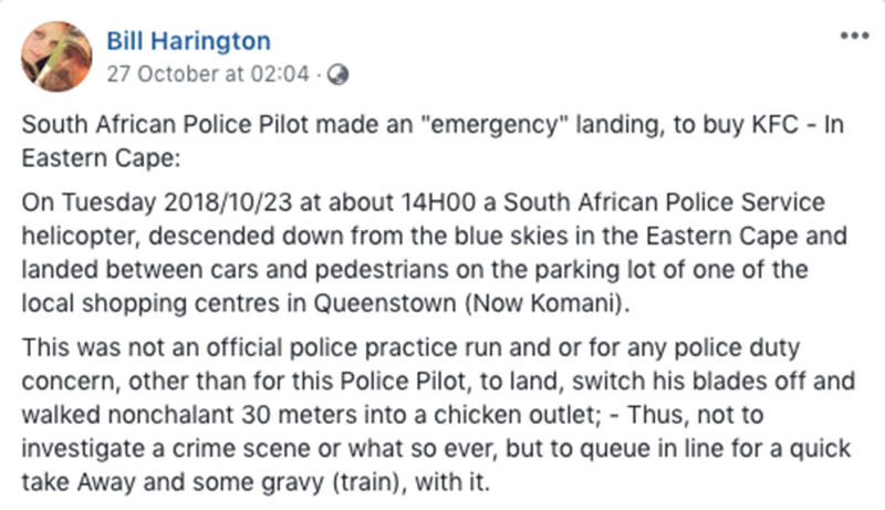 South African police helicopter pilot investigated after making emergency landing for KFC.