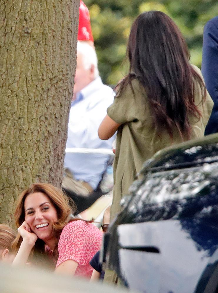 WOKINGHAM, UNITED KINGDOM - JULY 10: (EMBARGOED FOR PUBLICATION IN UK NEWSPAPERS UNTIL 24 HOURS AFTER CREATE DATE AND TIME) Catherine, Duchess of Cambridge and Meghan, Duchess of Sussex attend the King Power Royal Charity Polo Match, in which Prince William, Duke of Cambridge and Prince Harry, Duke of Sussex were competing for the Khun Vichai Srivaddhanaprabha Memorial Polo Trophy at Billingbear Polo Club on July 10, 2019 in Wokingham, England. (Photo by Max Mumby/Indigo/Getty Images)