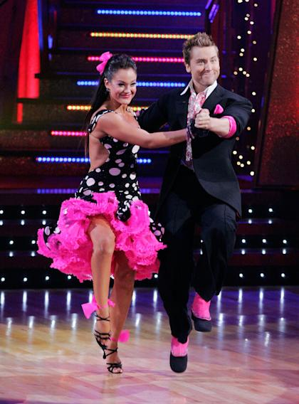 Lacey Schwimmer and Lance Bass perform a dance on the seventh season of Dancing with the Stars.