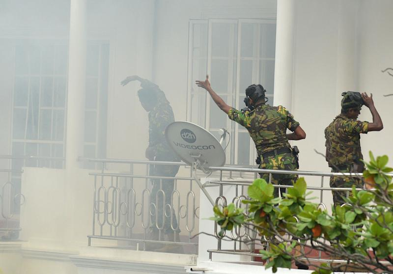Smoke outside the home following the blast. Source: Getty Images