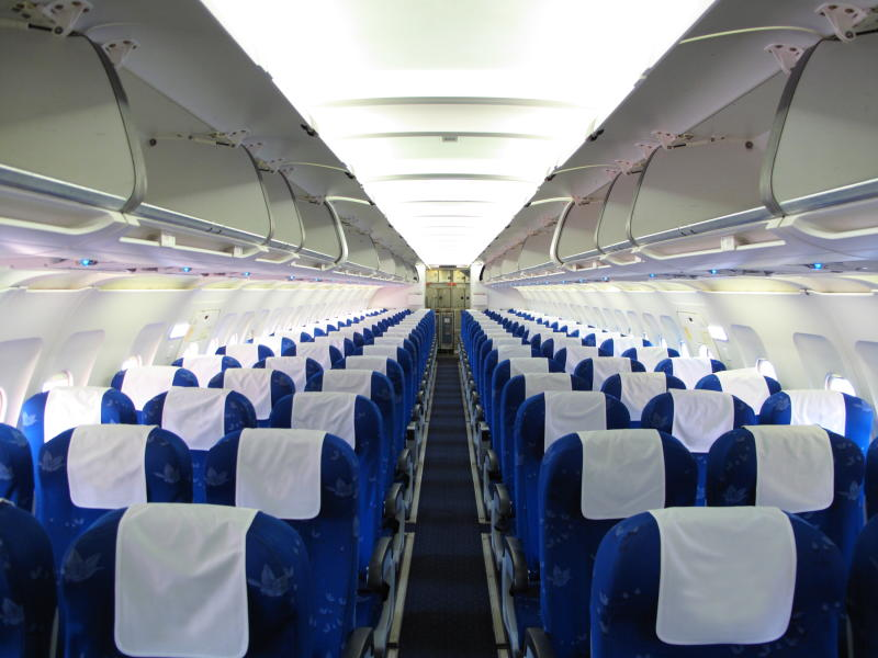 Inside of a long-haul flight