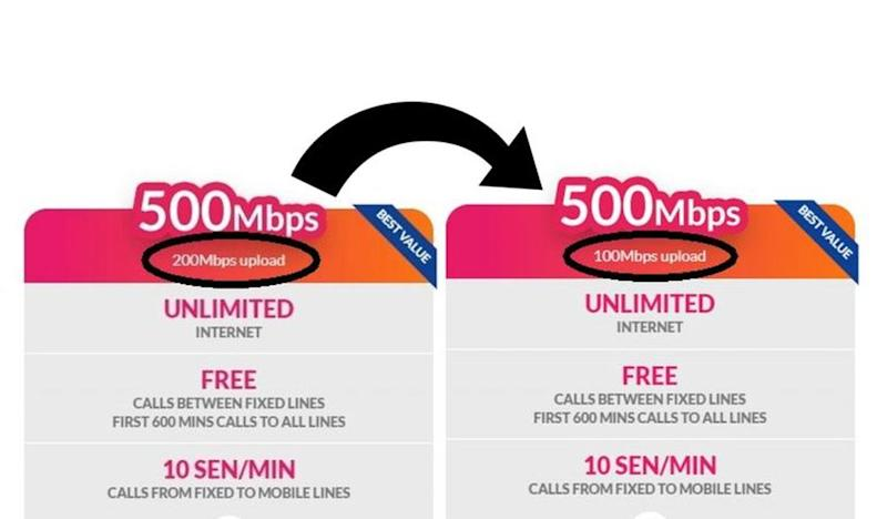 TM has quietly revised its new 500Mbps Unifi Fibre broadband plan with reduced upload speed. — soyacincau pic