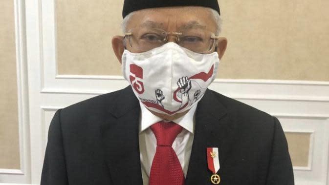 Wakil Presiden Ma'ruf Amin mengenakan masker lukis karya seorang remaja bernama Charlene Junus. (Istimewa)