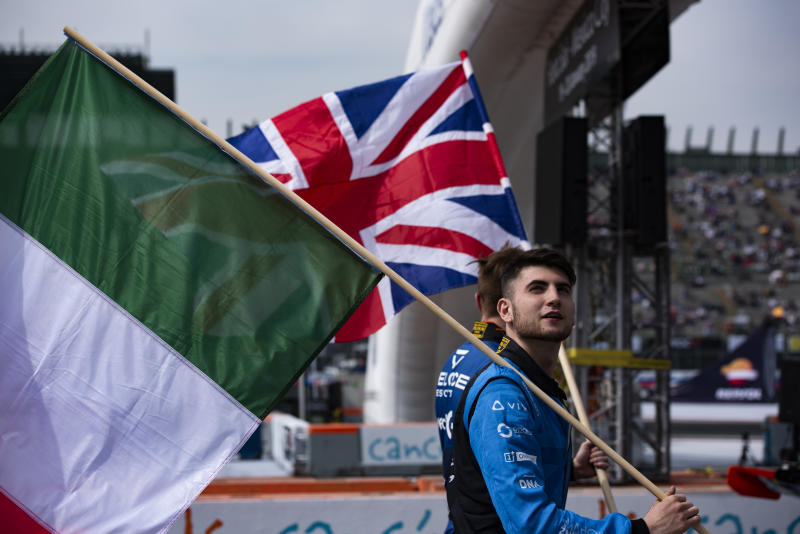MEXICO CITY, MEXICO - JANUARY 19: Enzo Bonito of Italy walk with his flag during the Parade of Nations before the Nations Cup at the Race of Champions on Day 2 at Autodromo Hermanos Rodriguez on January 19, 2019 in Mexico City, Mexico. (Photo by Humberto Romero/Getty Images)