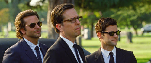 """This undated publicity photo released by Warner Bros. Pictures shows, from left, Bradley Cooper as Phil, Ed Helms as Stu and Justin Bartha as Doug in a scene from """"The Hangover Part III."""" (AP Photo/Warner Bros. Pictures)"""