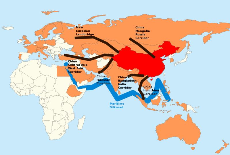 一帶一陸範圍圖。(圖/翻攝自維基百科)